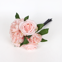 A bunch of 7 branches (3 roses + 4 peony ) Home artificial flowers Silk Flower Arrangements pink flower wedding decoration