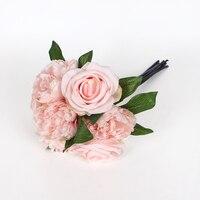 Kilka 7 oddziałów (3 róże + 4 piwonia) domu sztuczne kwiaty Jedwabne kwiaty Bukiety Kwiatów różowy weselnym, kwiatowym