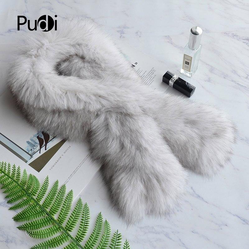 Pudi SF813  women real fox fur knit scarf  winter warm girls' natural fox fur scarves wraps rings