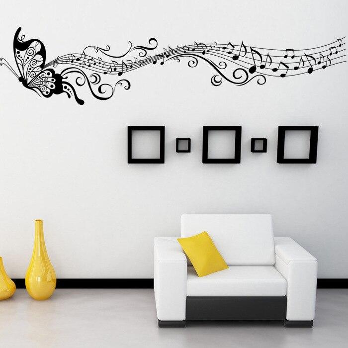 ⑧Música mariposa patrón Adhesivos de pared decalques Art Mural DIY ...