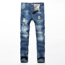 New Mens Motorcycle Jeans Nostalgia Retro Distressed Ripped Jeans Straight Pleated Denim Pants Male Cotton Stretch Slim Trousers