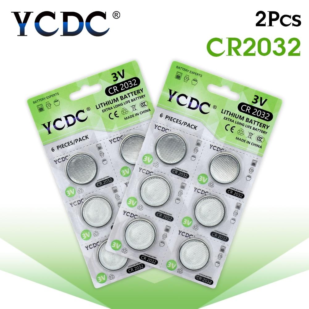 YCDC 12 PCS/2 cartões CR2032 DL2032 CR 2032 KCR2032 5004LC ECR2032 3V Bateria De Lítio Coin Botão Celular para o Relógio Pedômetro CONDUZIU A Luz