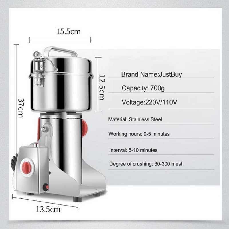 700g de aço inoxidável elétrica erval máquina moedor alimentos secos especiarias triturador cereais moedor grãos café moinho cozinha moagem