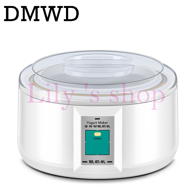 DMWD Electric Yogurt Maker Automatic Multifunction Stainless Steel liner Natto Rice Wine Yoghurt Machine with 7 cups 1.5L Pickle purple yogurt makers rice wine natto machine household fully automatic yogurt glass sub cup liner multifunctional kitchen helper