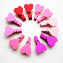 DIVV 12Pcs Mini Heart Love Wooden Clothes Photo Paper Peg Pin Clothespin Craft Clips Drop Shipping Happy Sale ap629