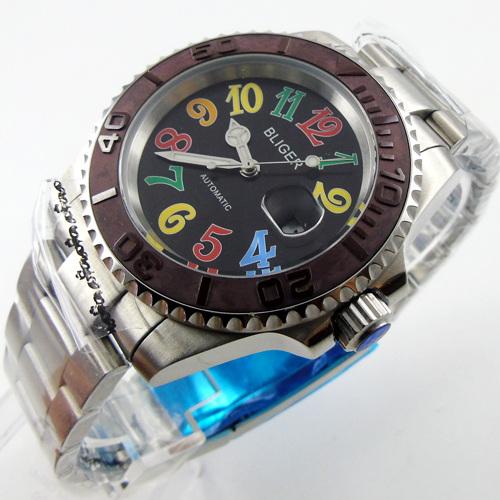 40mm BLIGER black dail Ceramic Bezel Luminous sapphire automatic Date Day coffee Ceramic Bezel mens watch цена и фото