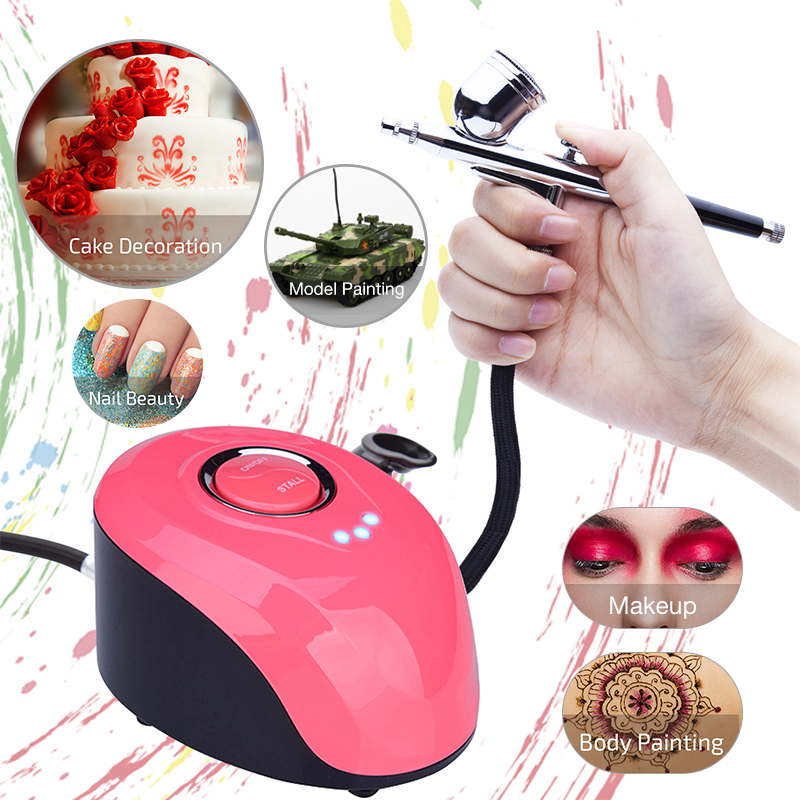 Nail Airbrush Kit Compressor Portable Airbrush Tattoo Make Up 3 Speeds Adjustable Tattoo Airbrush For Nail