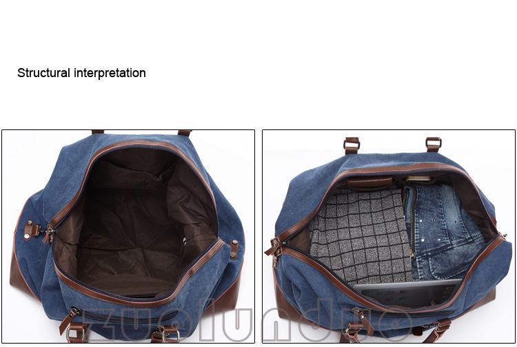 Moda Canvas Koža Muškarci Putna torba Veliki Kapacitet Muškarci - Torbe za prtljagu i putovanje - Foto 5
