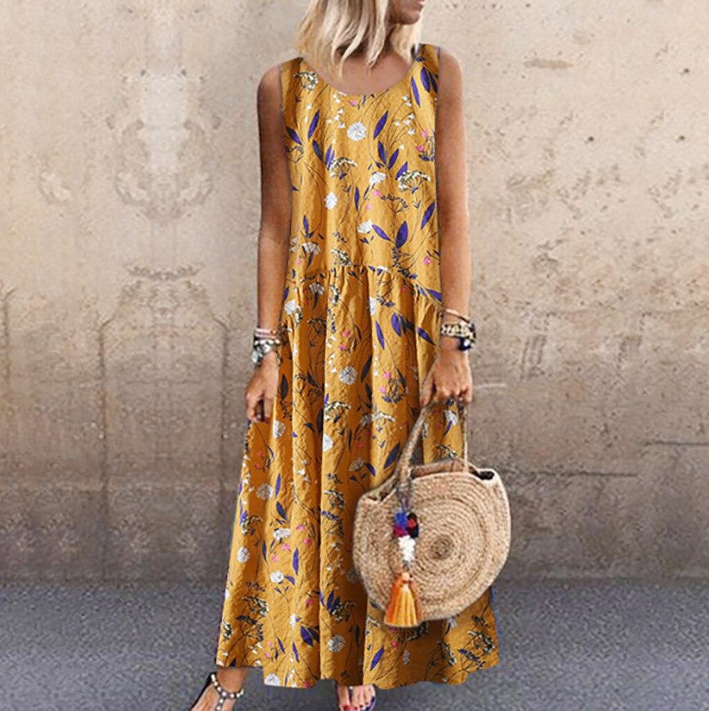 2020 Women's Dresses Plus Size Bohemian O-Neck Floral Print Dress feminine Vintage Sleeveless Long Maxi Dress vestidos