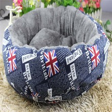 British Style Round Dog Beds Mats Pet Dog Teddy Puppy Cushion Cozy Soft Warm Kennel House Nest Thick Cat Litter Bed