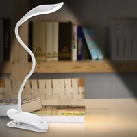 24LEDs Light Beads Reading Lamp USB Rechargeable 2400mah Battery Clip Portable Eye Protection Table Desk Lamp
