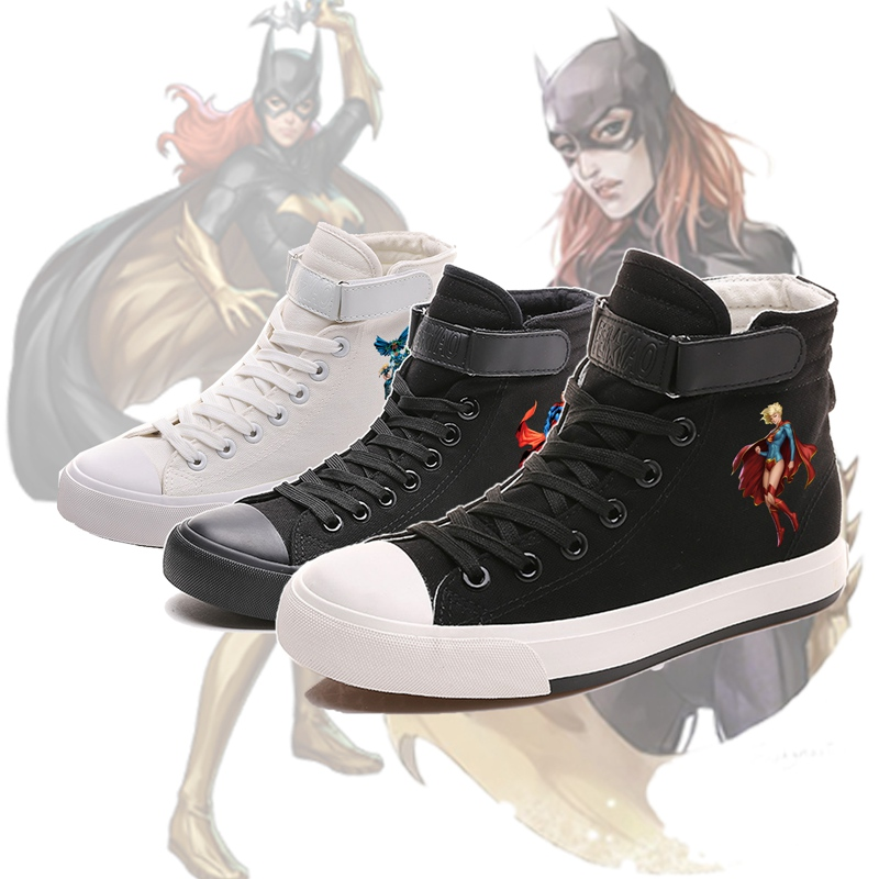 Shoes Superman Superwoman Batman Girl Wonder Woman Cartoon Printing High Top Breathable Canvas Uppers Sneakers College Fashion Shoe Always Buy Good