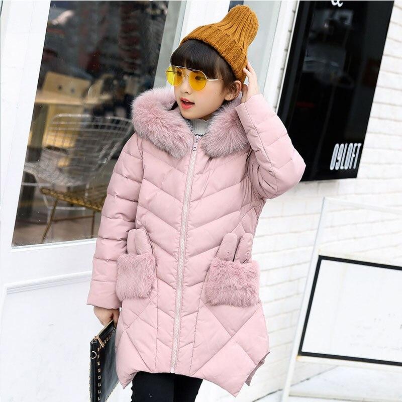 Christmas fur patchwork pockets long winter jacket for girls 2017 fur hooded white duck down jacket for girl pink green red coat christmas long hooded jacket girl 90