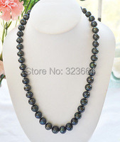 AA 18 12mm ROUND Tahitian Black Freshwater Cultured PEARL NECKLACE