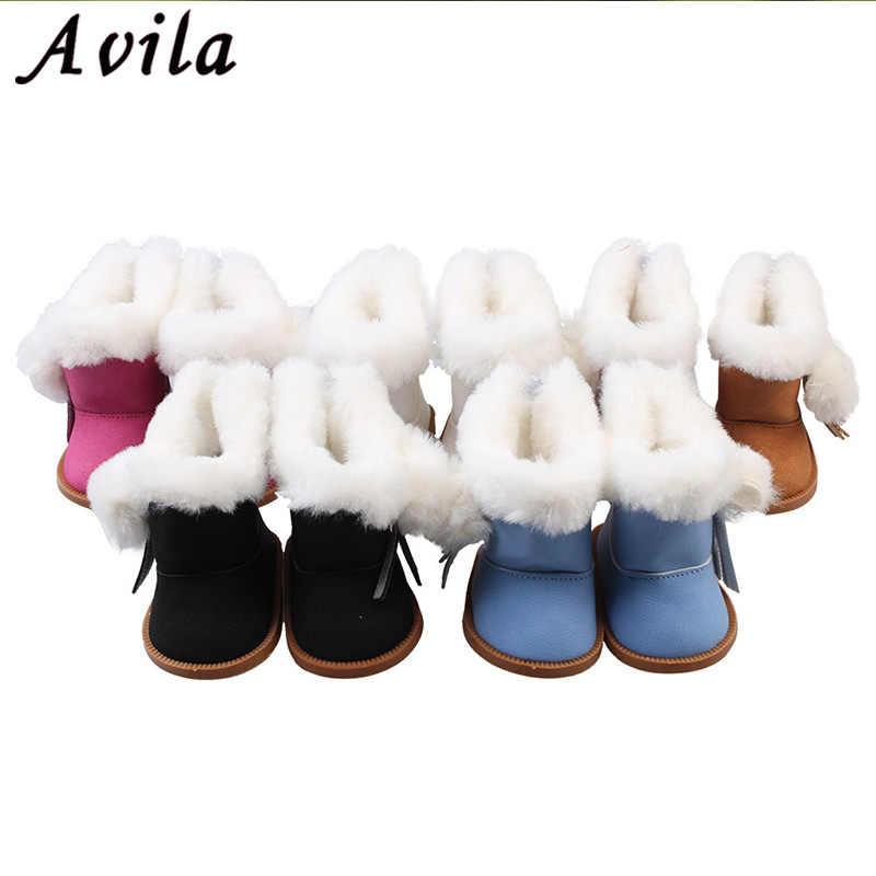 1 par de botas de nieve de invierno de felpa BJD para muñecas de 43cm como para 18 muñeca para niñas pulgadas Mini zapatos para regalo de Navidad juguetes tipo calcetín