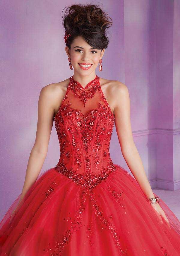 Debut Ball Gowns Quinceanera for 15 Years Tulle Appliques Halter ...