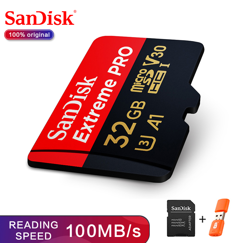 SanDisk Extreme PRO Memory Card 32GB Read Speed Up To 100MB/s MicroSDHC/micro SDXC UHS-I Micro SD Card U3 V30 4K UHD
