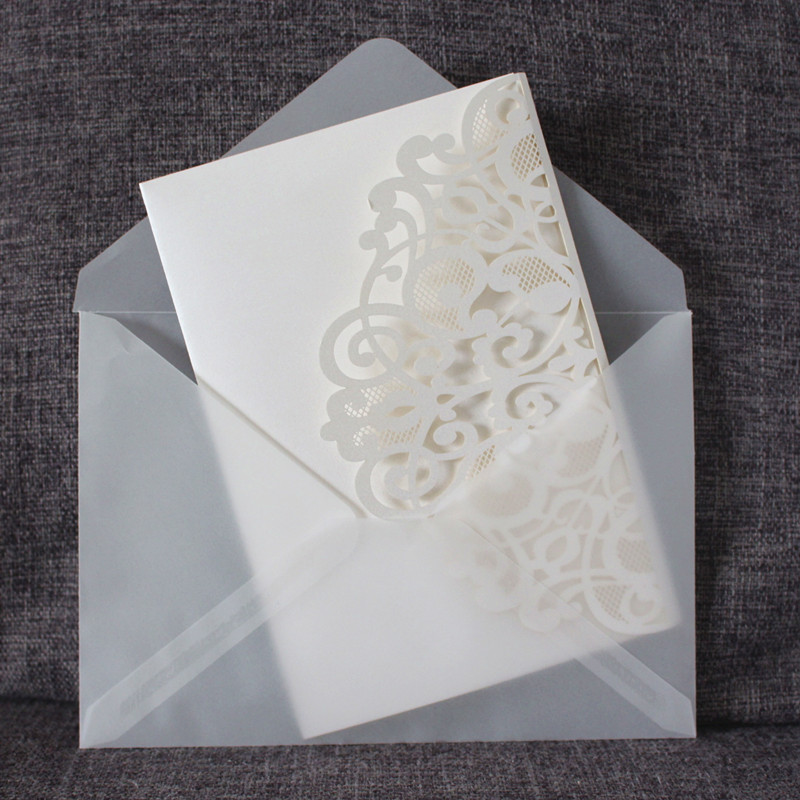 Ivory bridesmaid invitation with transparent envelop print RSVP card elegant laser cut gift card 50pcs party