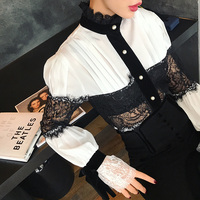 MENKAY Vintage Lace Spliced White Shirt Women Long Sleeve Pearl Buttons 2018 Spring Chiffon Blouse