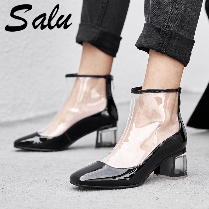 Salu 2019 Newest Summer Boots Women Open Toe Pvc Transparent Gladiator Boots Sexy High Heels Ankle