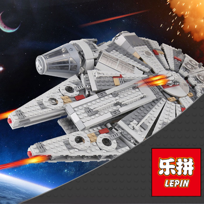 1381PCS Lepin 05007 Millennium Falcon Star Wars Model Building Blocks Toys for Force Awaken legoing starwars Chewbacca 10467 игровой набор mattel star wars tie fighter vs millennium falcon 2 предмета cgw90