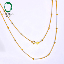 CAIMAO Ladies 18kt Yellow Gold Balls Chain 18inch 45cm Length Wholesales Exquisite Design Fine Jewelry