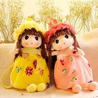 New Cute Cartoon Girl Plush Stuffed Backpack Lovely Kids Baby School Food Storage Bag Toy Dolls
