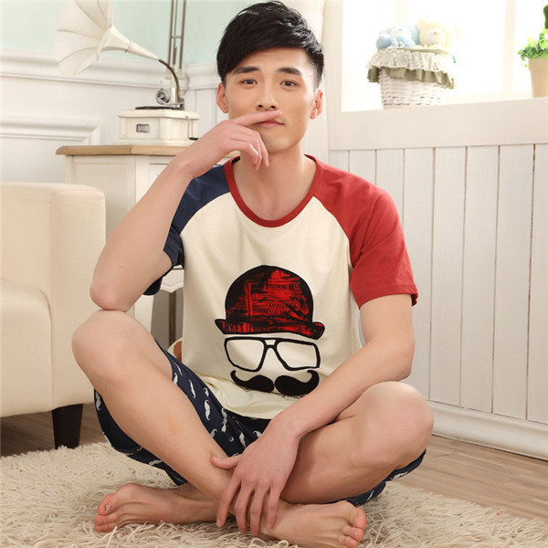 d4478f9b7360 Funny New Summer Pajamas Couple Cartoon Sleepwear Pijamas mens and Ladies  Moustache Pyjamas Cotton Nightwear with pants D10