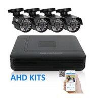2 3 4 Channel CCTV System 4CH Mini DVR For CCTV Kit 1200TVL 720P IR Bullet