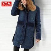 Winter New Fashion Women Hooded Zipper Casual Denim Jean Coats Female Parkas Long Fur Collar Long Sleeve Motorcycle Biker Blue