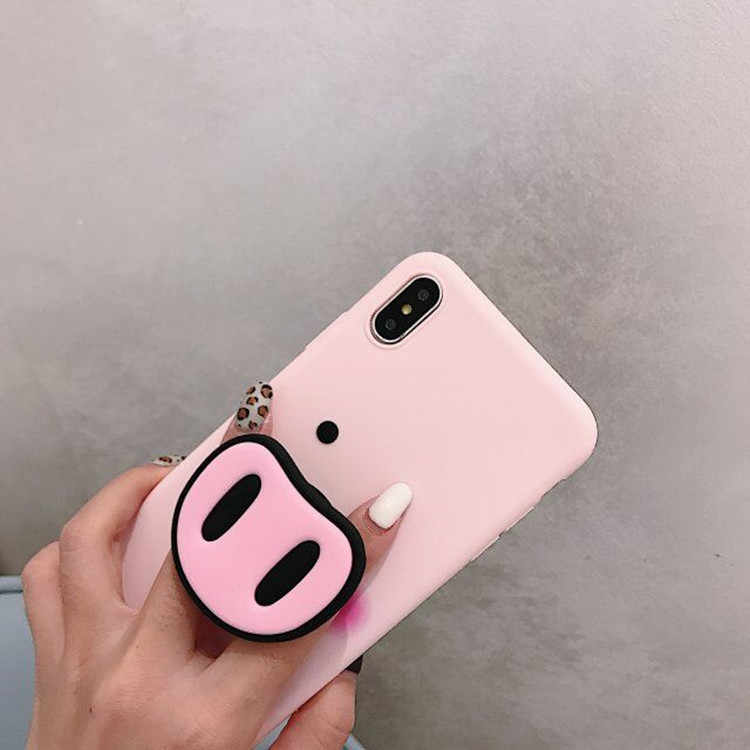 For iPhone XR Xs MAX Case With Popular 3D Pig Holder For iPhone X 7 8 Plus 6 6s Cover Pig Nose Pink Ring Multifunction Stand
