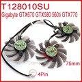 Free Shipping 3pcs/lot T128010SU 75mm 4Pin 40mm For Gigabyte GTX670 GTX580 560ti GTX770 Graphics Card Cooling Fan