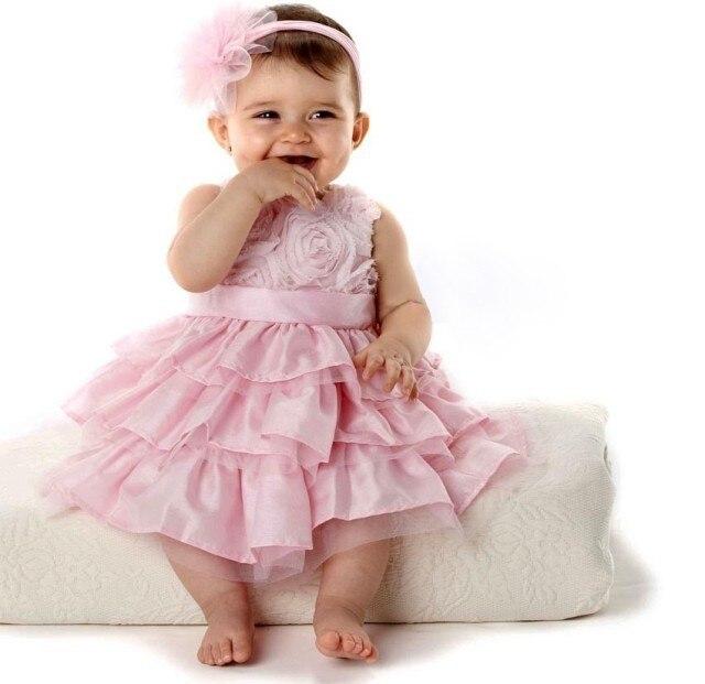 Девочка платье розовые розы пачка торт платье детские летние Рукавов платье + оголовье милый шифона платье принцессы