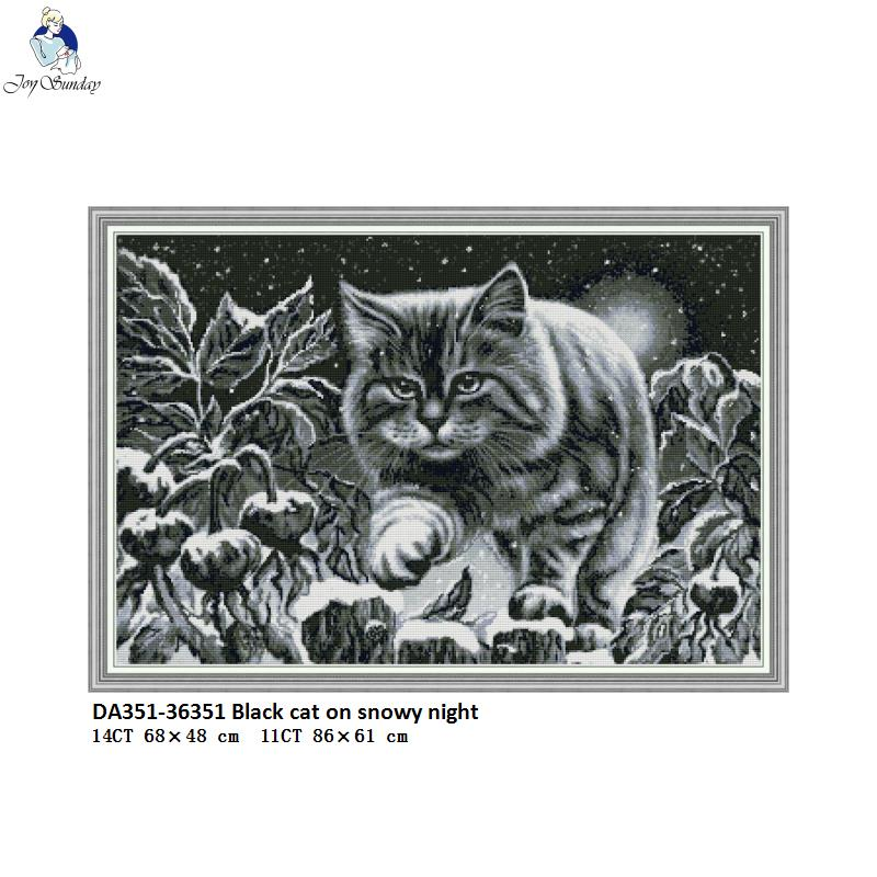 Black Cat On Snowy Night Patterns Cross Stitch Kits 11CT Printed Fabric 14CT Canvas DMC Count Embroidery Thread Sets DIY Crafts