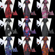 RBOCOTT  Floral Mens Silk Jacquard Tie, handkerchief and Cufflink Set