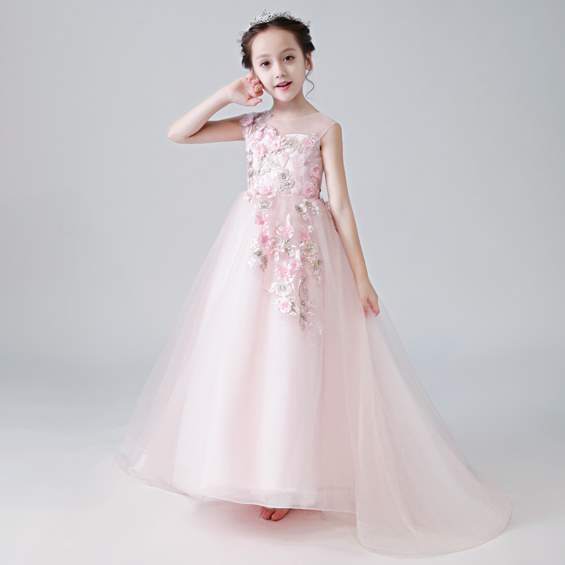 96267a8d6f7b5 Kids Girls Evening Party Dress Summer long tail Flowers Formal Wedding  Birthday Dress Children Teen Ball Gown5-15Y Girls clothes