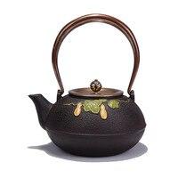 1.2L South Japan Gourd Cast Iron Tea Pot Kung Fu Kettle Handpainted Drinkware