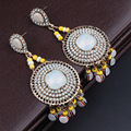 Ancient bronze plated Vintage Imitation Opal Beads long tassel earrings dangle earrings for women