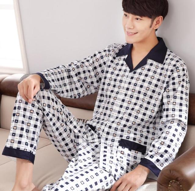 Mens pajamas cotton men sleepwear high quality lapel sleep tops plaid cardigan pyjamas men casual sleep bottoms male pajama sets