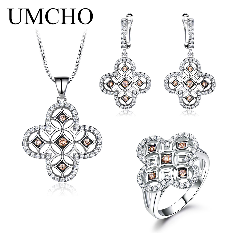 UMCHO jaune Zircon Vintage ensembles de bijoux pour les femmes pendentifs anneaux Clip boucles d'oreilles 925 en argent Sterling fête de mariage cadeau bijoux - 2