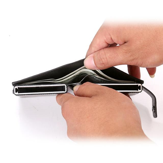 RFID Blocking Wallet Men Metal Aluminium Double Box Pop Up Credit Card Box Case Holder Slim Mini Smart Wallets Male
