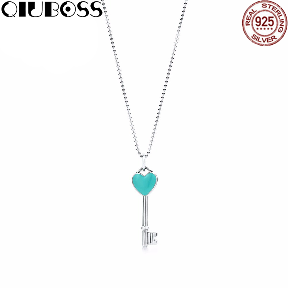 QIUBOSS TIFF 925 Sterling Silver Jewelry Green Heart Key Necklace Pendant Woman Charming Necklace Jewelry DIY Gift qiuboss 925 sterling silver silver heart shaped enamel pendant necklace charm women clavicle diy gift jewelry