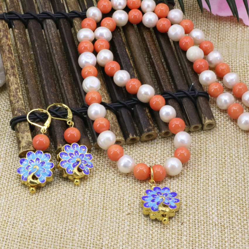 8mm artificial coral orange round white natural pearl 9-10mm beads necklace earrings gold-color cloisonne jewelry 18inch B3180