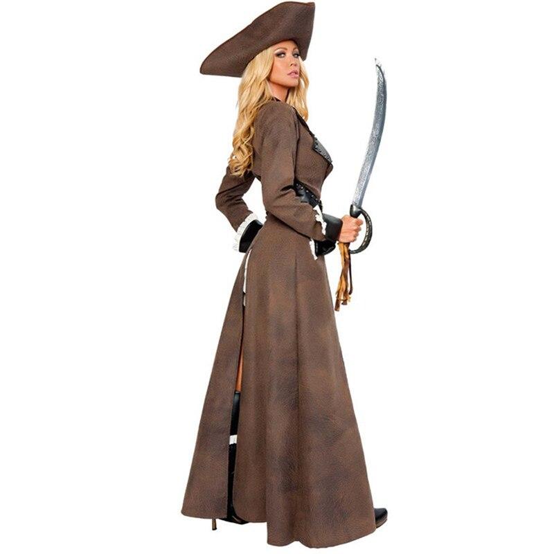 Haute qualité Sexy grande taille Costume Halloween adulte brun Pirate Costume robe 5 pièces nouveau Long Costume - 2