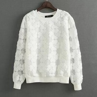 New 2015 Casual Round Neck Hedging Sweatshirt Women Lace Hollow Out Female Hoodies Loose All Match
