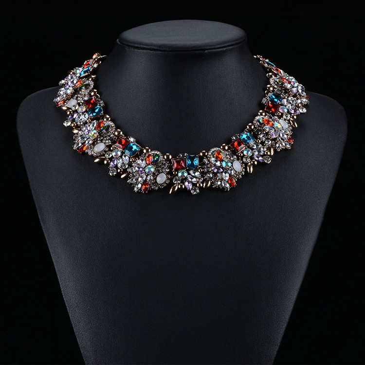 2015 New Fashion ZA Brand Luxury Crystal Statement Necklace Collar Rhinestone Flower Choker Bib Necklaces Pendants