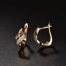Hoop Earrings Crystal Cubic Zirconia Charm Gold Plated Earrings