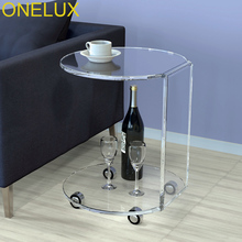Waterfall Acrylic C Table,Lucite Occasional Side Tea Table On Wheels(China)