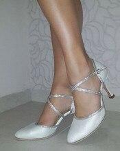 HXYOO New Latin Shoes Women Salsa Ballroom Dance Shoes Tango Champagne Brown Soft Sole Professional GM031