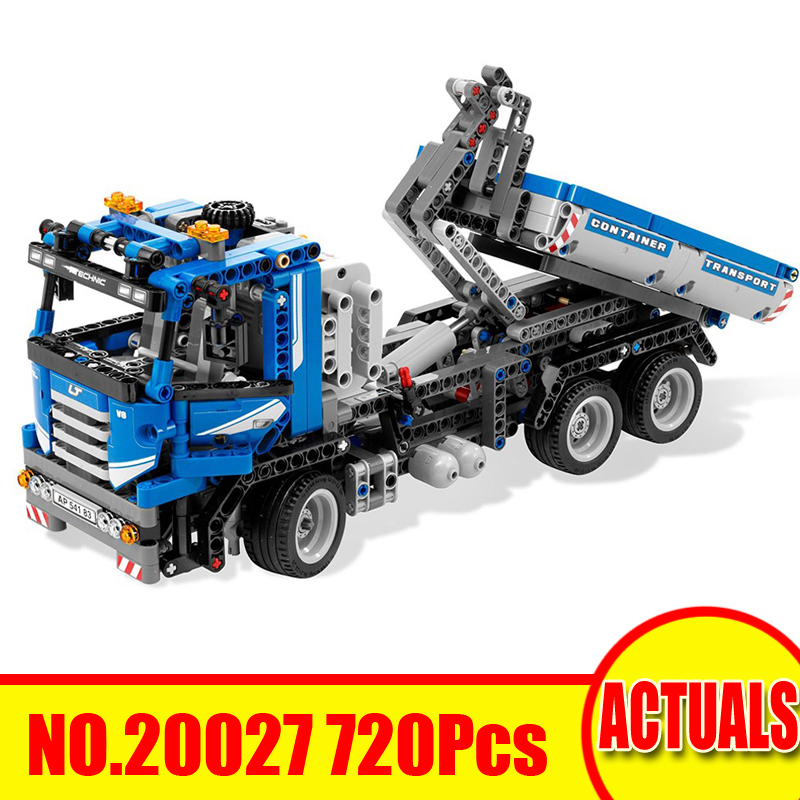 720Pcs 20027 Lepin Technic Figures Container Truck Model Kits Building Blocks Bricks Sets Toys For Children Compatible With 8052 diy model fire truck building bricks blocks figures toys for children game model car gift lorry compatible with lepins technic